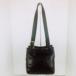 Coach Vintage Black Leather Soho Waverly Tote Bag